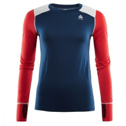 Aclima Lightwool Reinforced Crew Neck Woman Insigne Blue/High Risk Red/Nature - XL
