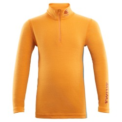 Aclima Warmwool Mock Neck with Zip Children - Cadmium Yellow - Tapestry - 90