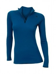 ACLIMA Warmwool Mock Neck with zip Women Brilliant Blue