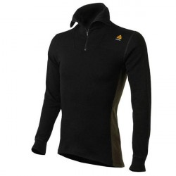 Aclima Warmwool Polo Med Zip Jet Black/Marengo 3XL