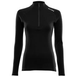 Aclima Womens Warmwool Mock Neck Shirt, M, JET BLACK