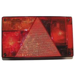 Baglygte med indbygget reflekstrekant. Højre uden baklys