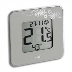 Digitalt termometer med ur - Lys grå