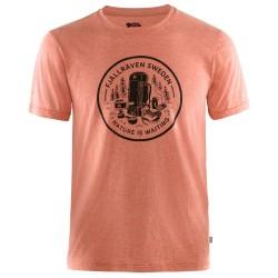 Fjällräven Mens Fikapaus T-shirt, L, ROWAN RED-MELANGE/333-999