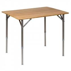 Foldbart campingbord med bordplade i bambus (80 x 60 cm)