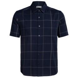 Icebreaker Mens Compass S/S Shirt, S, MIDNIGHT NAVY/MONSOON