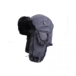MJM kaninpelshue med stofyderside, sort/sort