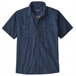 Patagonia Mens Back Step Shirt, Tiger Micro / Stone Blue