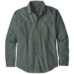 Patagonia Mens Pima Cotton Shirt L/S, M, BUTTES SMALL: PIKI GREEN