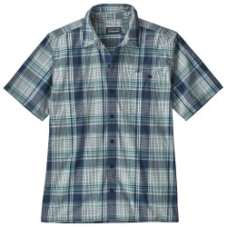 Patagonia Mens Puckerware Shirt, S, CANOPY PLAID: STONE BLUE