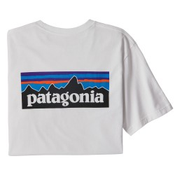 Patagonia Ms P-6 Logo Responsibili-Tee, M, WHITE
