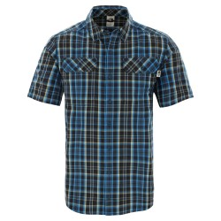 The North Face Mens S/S Pine Knot Shirt, M, BLUE WING TEAL PLAID