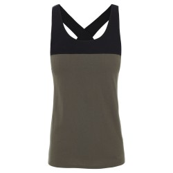 The North Face Womens North Dome Tank, L, NEW TAUPE GREEN/TNF BLACK